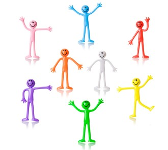 Bendy Men - Multicoloured (Pack of 8)