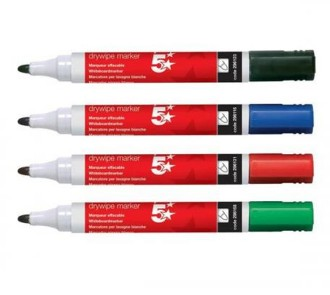 5 Star Drywipe Markers (Pack of 12)