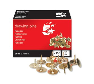 5 Star Brassed Drawing Pins