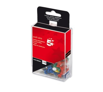 5 Star Push Pins Assorted Opaque (Pack of 100)