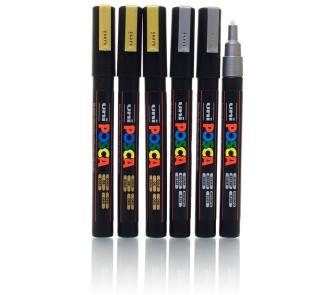 Posca Bullet Tip Gold/ Silver Marker (Pack of 6)